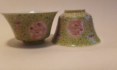 Antique Vintage Republic Chinese Tea Bowls with Dragons ~ signed