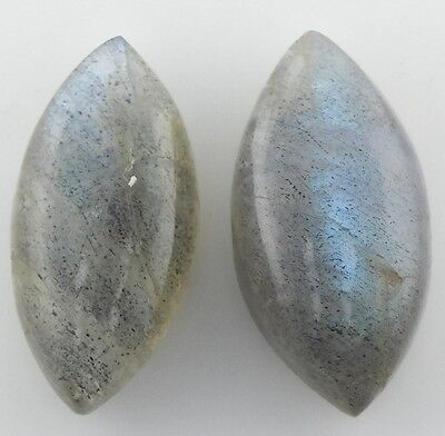 A PAIR OF 14x7mm MARQUISE-CABOCHON NATURAL AFRICAN LABRADORITE GEMSTONES