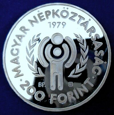 HUNGARY: 1979 200 Forint, Int Yr of Child, .640 silver proof, capsule, top grade