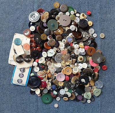 Lot 3 Tin Of Assorted Vintage Buttons All Shapes, Colours & Sizes