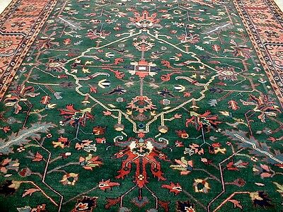 9X12 Breathtaking New Hand Knotted Silky Wool Persian Serapi Design Oriental Rug