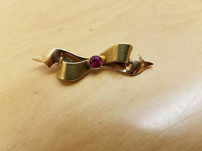 Antique 14k solid rose gold ruby brooch beautiful ruby