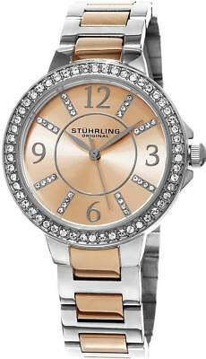 Stuhrling Original Allure 480 03 Crystal Accented Resized Two tone Womens Watch