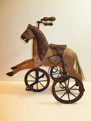"""Antique Miniture Hand Carved Wooden Horse Tricycle 15 1/2"""" Long"""