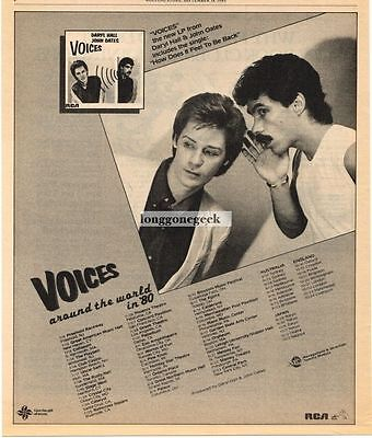 1980 Daryl Hall & John Oates Voices Vtg Album Promo Print Ad with concert dates