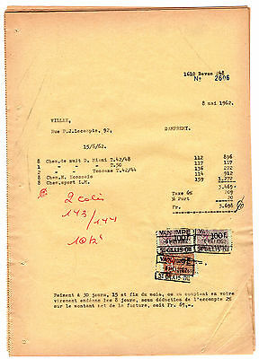 Belgium Revenues On 12 Piece's Of Payment Papers. 1962. Used.  #401