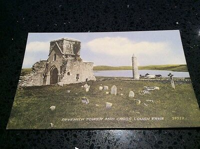 ireland postcard, DEVENISH TOWER AND CROSS,  LOUGH ERNE VALENTINES UNPOSTED