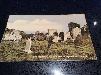 irish postcard. CLOISTERS FRANCISCAN ABBEY RUINS DONEGAL