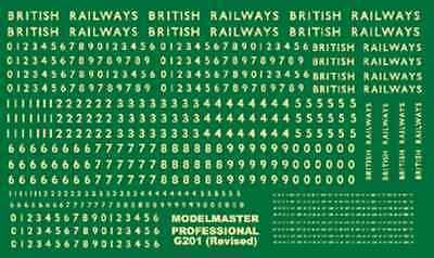 Modelmaster G201 BR Steam Loco Lettering OO Gauge Transfers