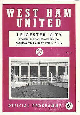 WEST HAM UNITED v LEICESTER CITY 22/8/59. PLUS PHOTO/REPORTS