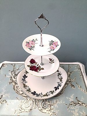 Cake Stand 3 Tier China Floral Vintage Shabby Chic Retro Wedding Tea Party