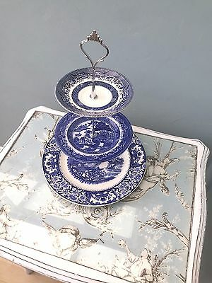 Cake Stand 3 Tier Vintage Shabby Chic Traditional Blue Wedding Tea Party