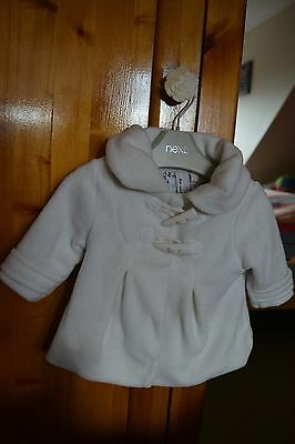 NEXT Baby Girl's Cream Coat Jacket Age 3-6 months Two Toggle Fastening