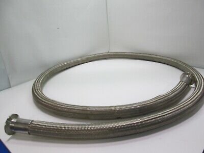 """1.310 """" OD Stainless Steel Sanitary Braided Hose, 94"""" Overall Length, W/Fittings"""