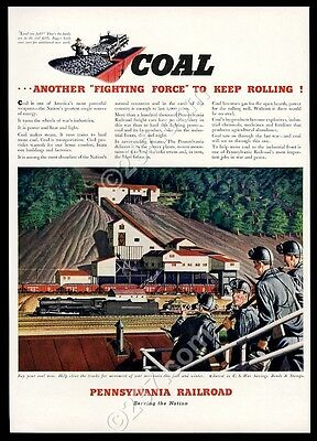 1942 Pennsylvania Railroad train coal mine miner art vintage print ad