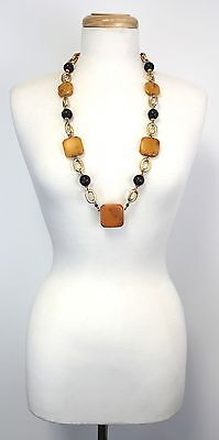 Vintage Cadoro Amber Bakelite Wood Bead Gold Tone Chain Necklace