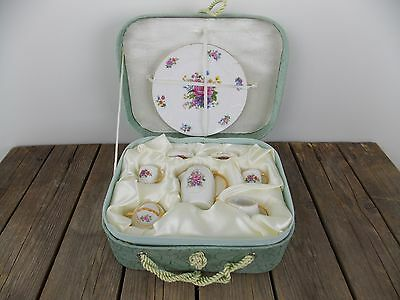 Vintage Mini China Tea Set with Pink Rose Gold Trim in Quilted Gift Box