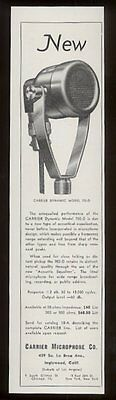 1938 Carrier Dynamic 702-D microphone photo vintage print ad