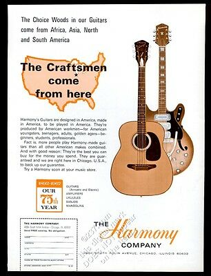 1967 Harmony sovereign acoustic and electric guitar photo vintage print ad