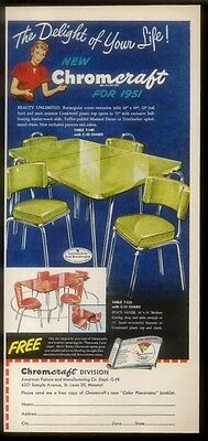 1951 Chromcraft chartreuse green plastic & chrome dinette table chair print ad