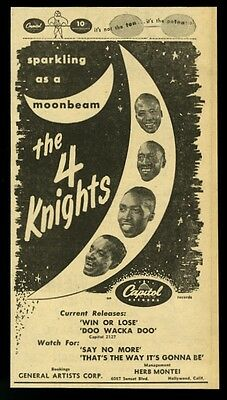 1952 The 4 Knights photo Capitol Records vintage trade print ad