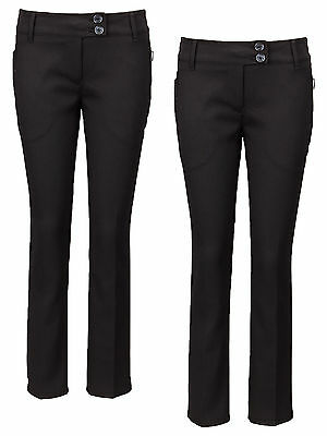 Top Class Girls Woven Slim Fit 2pk Of School Trousers In Black Size 12 Years