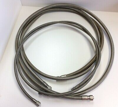 """Lot Of 3-.375""""/.500"""" OD Stainless Steel Sanitary Braided Hose, W/Fittings"""