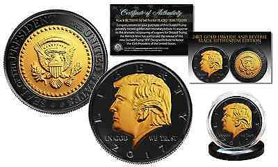 Donald Trump BLACK RUTHENIUM & 24K GOLD Clad OFFICIAL Tribute USA Coin with COA