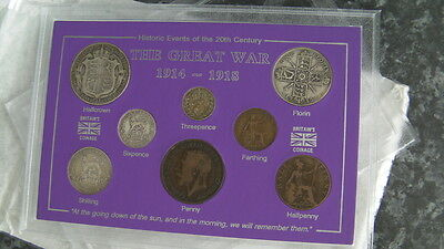 The Great War 1914-1918 Coins In Display Case