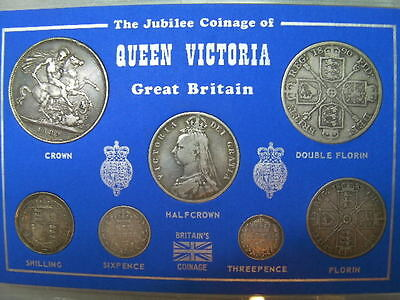 Rare Antique Queen Victoria Jubilee Coin Set, 7 Silver Coins In Display Case