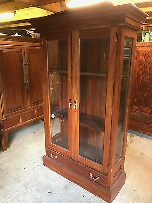 Solid Large Glazed Side Bookcase Display Cabinet with Shelves & Drawer Mahogany