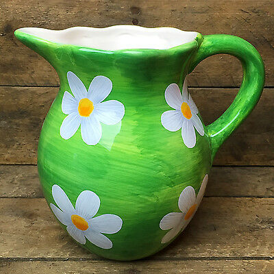 Teleflora Hand Painted Green with White Daisies Pitcher