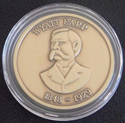 Wyatt Earp Collectible Gunfighter Coin - Antique Coated Gold -- Made In USA