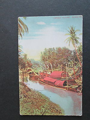 Burma - A Creek Scene With Native Boats  - A Collectable Vintage Card