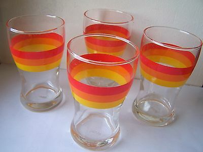 LOT DE 4 VERRES ORANGEADE DEGRADE ORANGE - VABE -  VINTAGE - 70's - TBE -