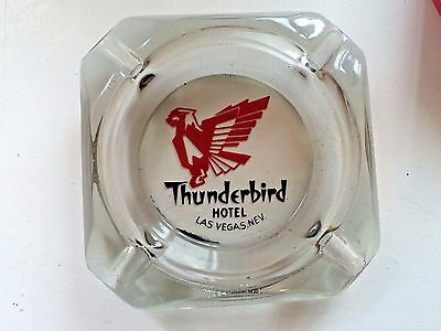 Vintage  Glass ASHTRAY Black THUNDERBIRD HOTEL CASINO LAS VEGAS, Nevada SMOKING