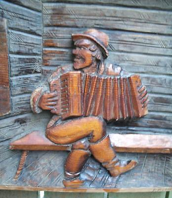 Antique Black Forest Carved Accordion Player  Wall Plaque
