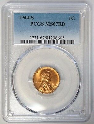 1944 S 1C Lincoln Cent Wheat Penny PCGS MS67RD