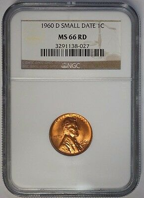 1960 D 1C Lincoln Cent Penny Small Date NGC MS66RD