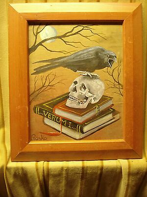 Retro / Art Deco Style Occult Acrylic On Wood Painting Signed And Framed