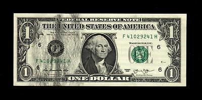 2013 Us One Dollar Bill Black Ink Error Crisp Au