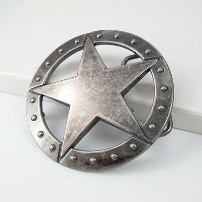 Silver Alloy Studded Texas Ranger Sheriff Star Western Belt Buckle FREE GIFT BOX