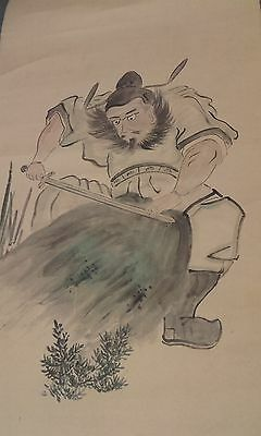 Antique Vintage Chinese Warrior Scroll Painting ~ Signed