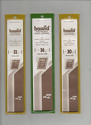 Hawid Black Stamp Mounts - 3 Packets Of Strips As Scan - New & Unopened (Lot B)
