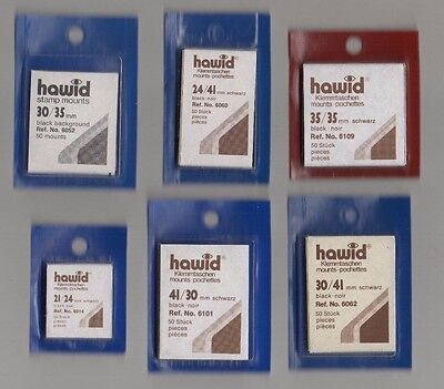 Hawid Black Stamp Mounts - 6 Packets Of Mounts As Scan - New & Unopened