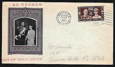 Great Britain George VI Coronation Cachet FDC First Day Cover, Germany Ship 1937