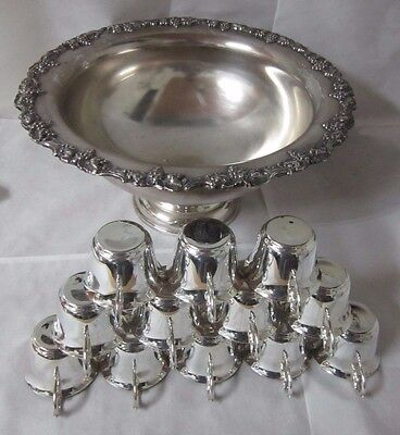 "Beautiful Ornately Decorated Silver-Plated Large 18"" Serving Bowl & 12 Cups"