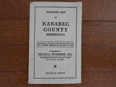 Collectible McGill Warner Co. Kanabec County Minnesota Standard Map Pocket Map