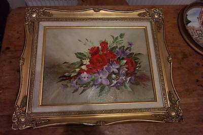 Vintage Gold Gilt Frame Ornate Floral Oil Painting By Sylvia Durrant Rustic Chic