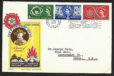Great Britain Cachet FDC First Day Cover Boy Scouts Jubilee Jamboree to USA 1957